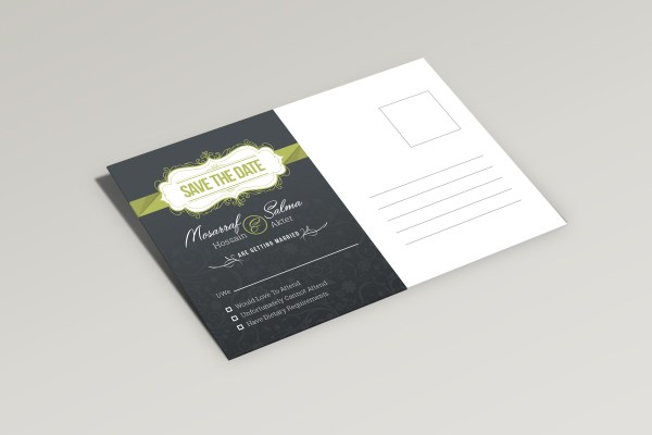 Sleek Elegant Wedding Postcard Template