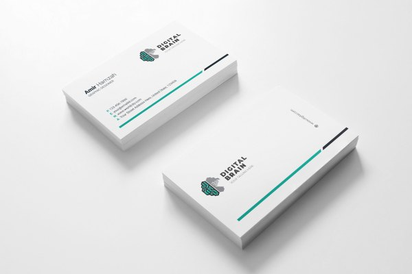 Digital Brain Visit Card Template