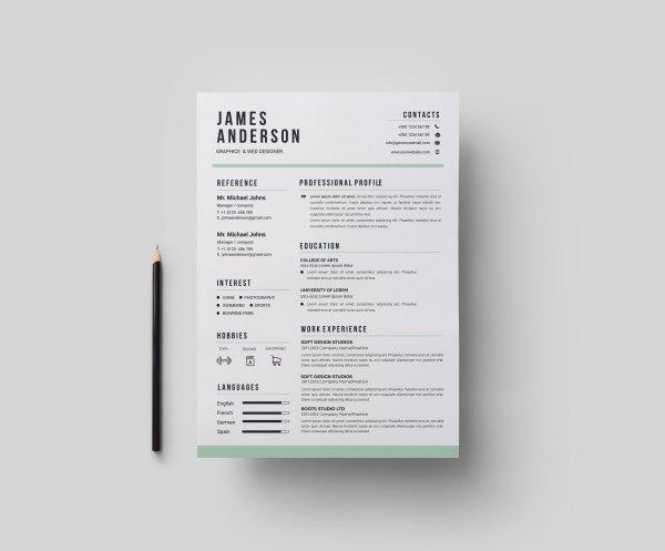 Contemporary Print Resume Templates