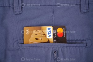 Credit cards in pocket stock photo
