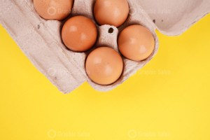 Organic eggs in a cardboard