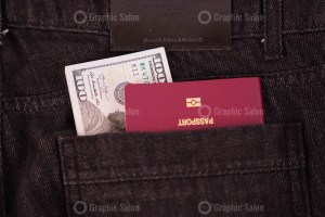 Passport and Dollar banknotes in jeans pocket