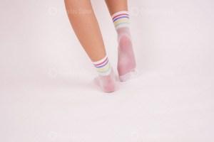 White nylon socks stock image