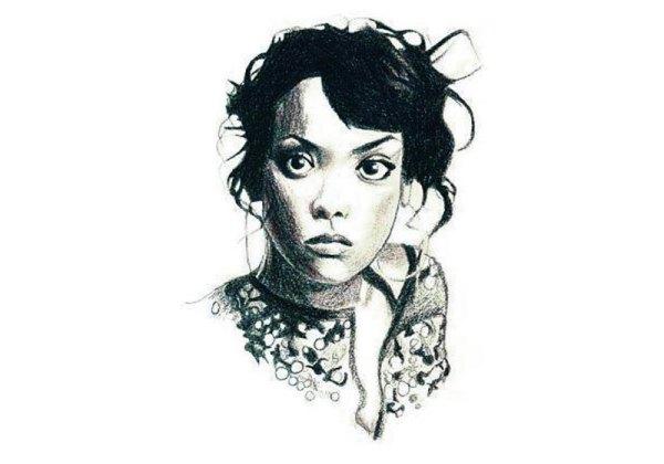 portrait pastel sec femme de face realiste