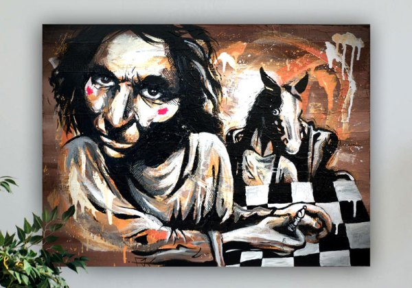 tableau peinture street art marron noir homme échecs cheval