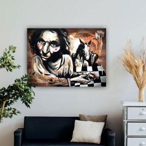 tableau peinture homme qui joue aux echecs cheval