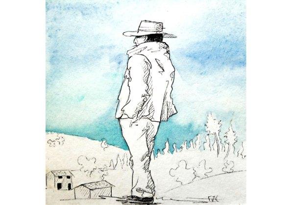 dessin noir et blanc aquarelle personnage chapeau nature