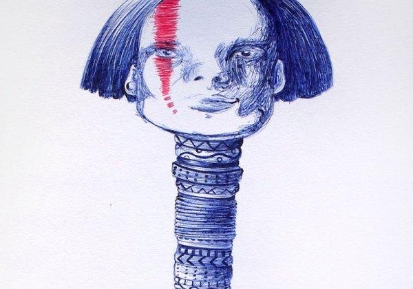 portrait stylo bic bleu et rouge dessin portrait long cou