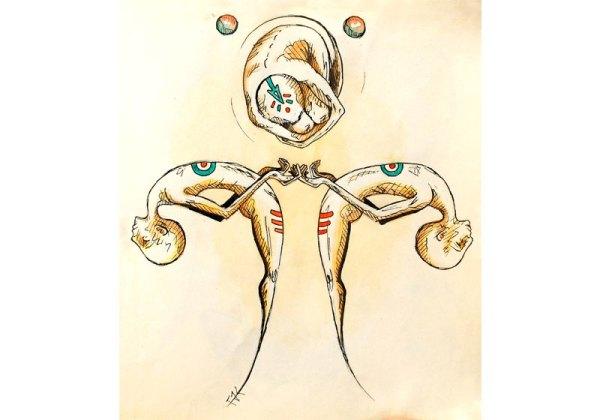dessin aquarelle personnages surrealistes jongle