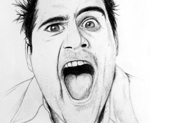 portrait realiste homme grimace bouche ouverte