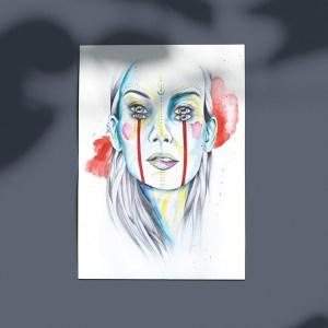 poster portrait de femme aquarelle