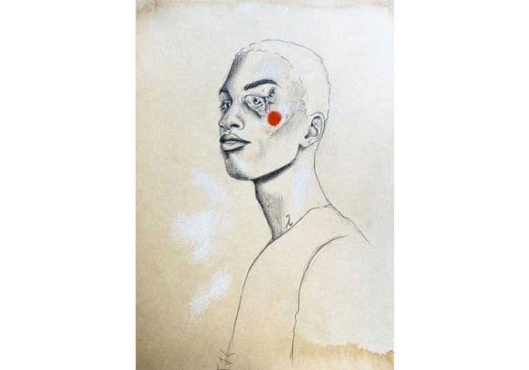 dessin artiste peintre portrait homme profil papillon noir et blanc
