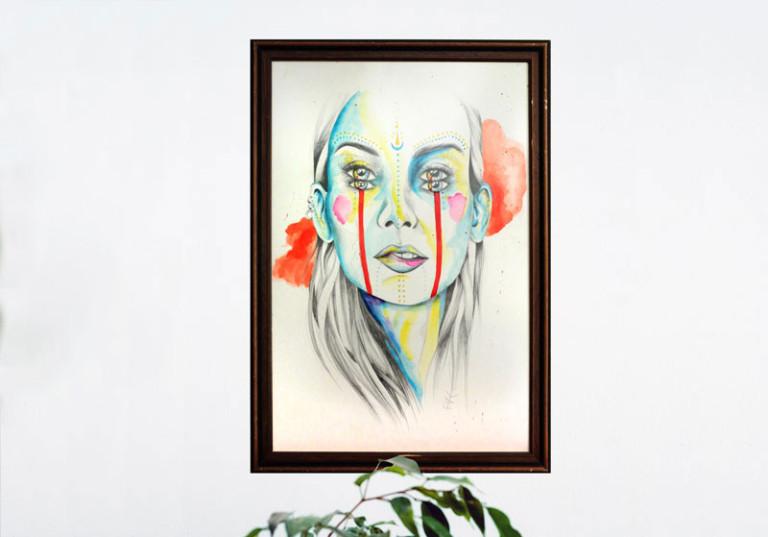 realisation artiste tableau portrait femme bleue de face emotions