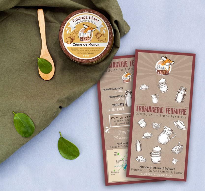 identite visuelle produits fermiers illustration logo flyers yaourts