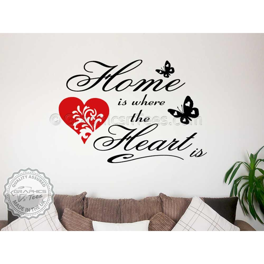 Home Is Where The Heart Family Wall Art Sticker Quote