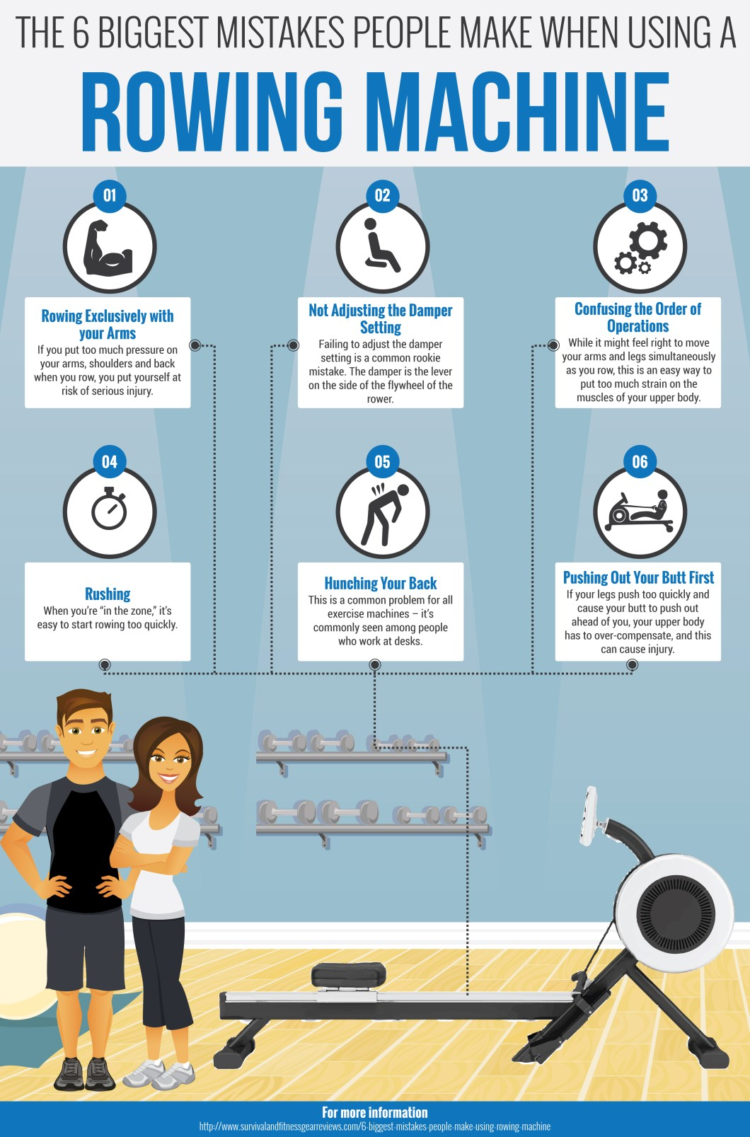 The Most Common Mistakes Made While Using A Rowing Machine - Infographic