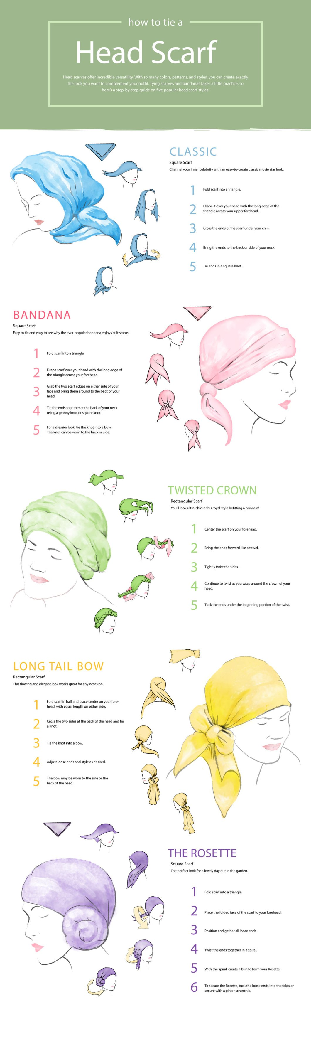 A Guide To Tying A Head Scarf - Infographic