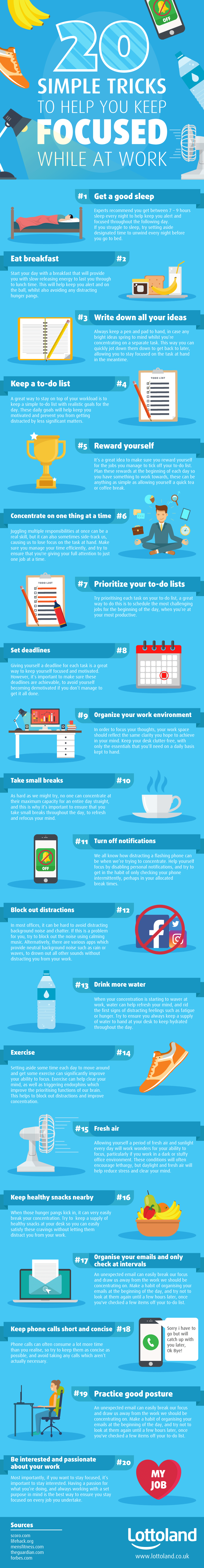 20 Ways To Make Sure You're Focused At Work - Infographic