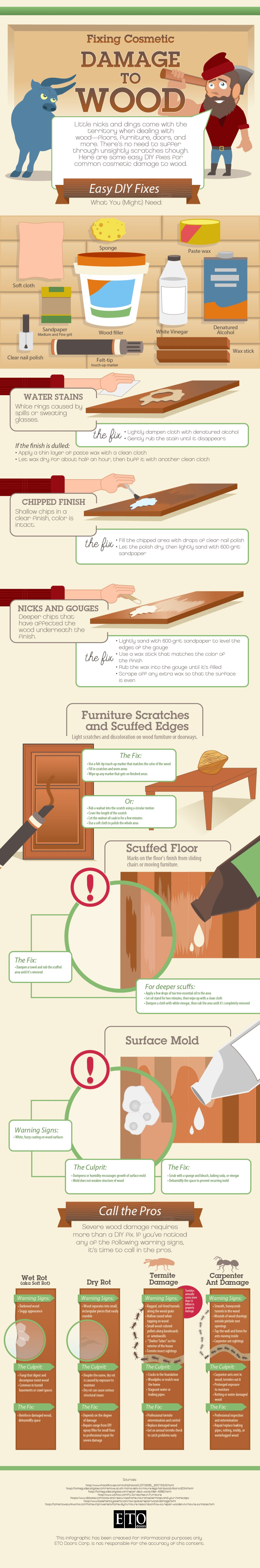 DIY Methods to Fix Superficial Damage to Wood - Infographic