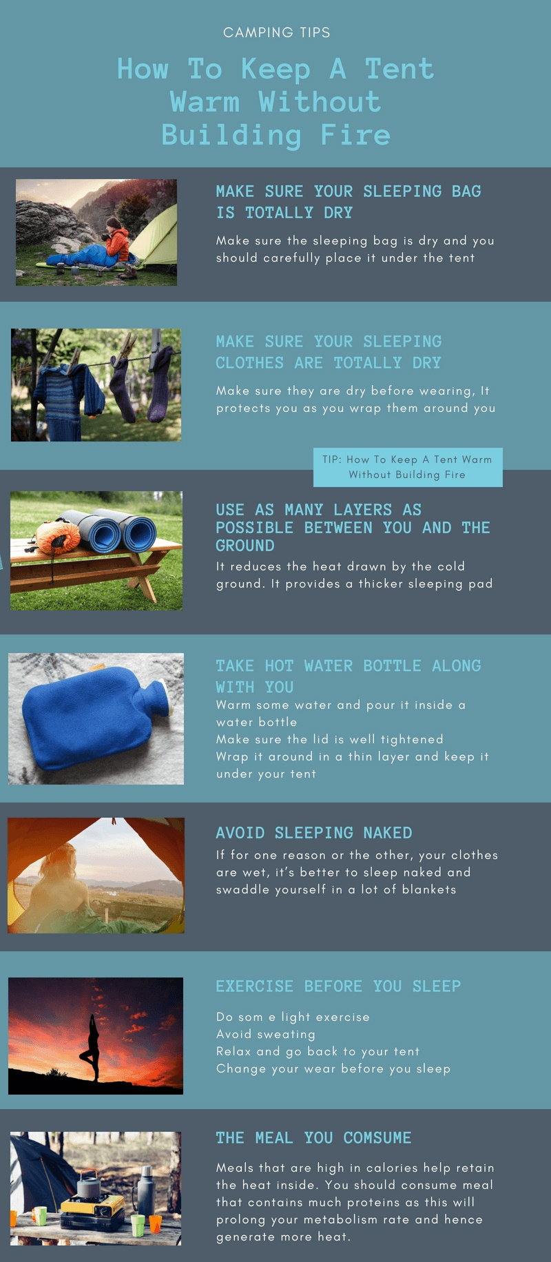 How to Keep a Tent Warm and Cozy, Without Fire - Infographic