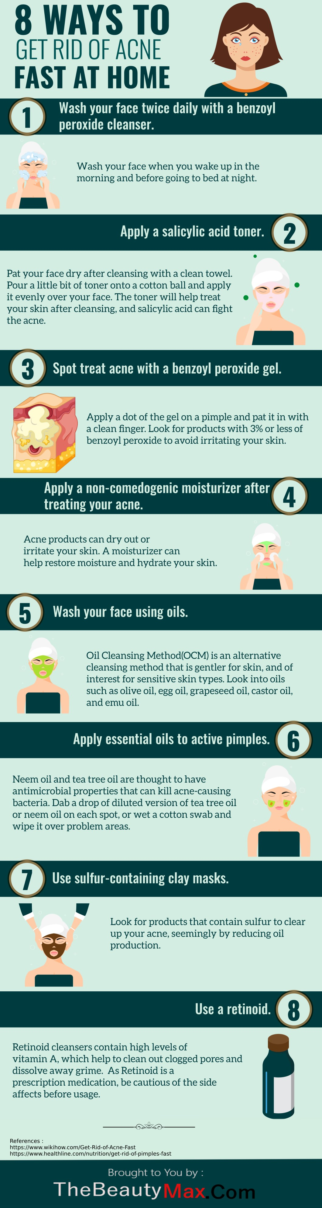 8 Home Treatments to Get Rid of Acne Fast - Infographic