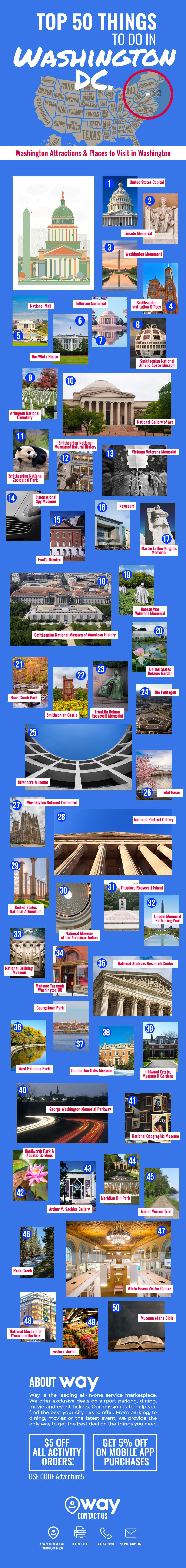 50 Must-Do Must-See Places in Washington - Infographic