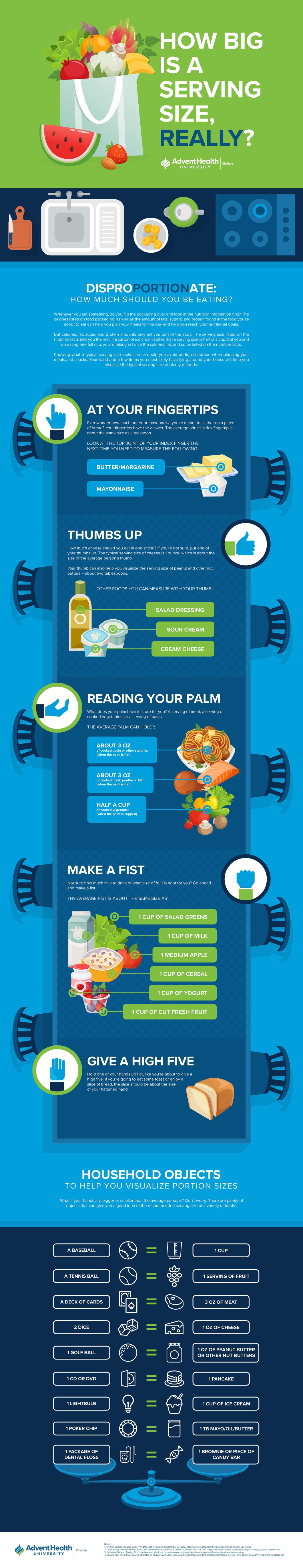 Food Serving Sizes in Fingers, Fists and Palms - Infographic