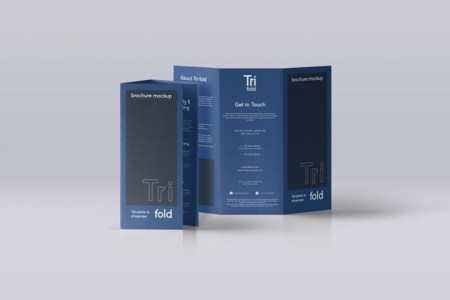 Standing A4 tri fold Brochure Mockup   Mockup Templates Images     This is front and back view of our series of brochure psd tri fold mockup  template compatible with A4 and US letter sizes  You can add your own  graphics