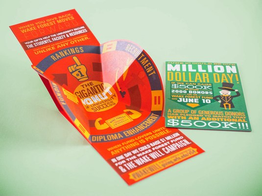 "Wake Forest University - ""Million Dollar Day"" Folded Postcard 
