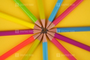 Colored pencils stacked stock photo