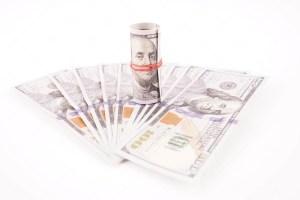 Dollar bills isolated on white