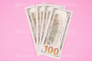 Four Hundred Dollars Isolated on Pink