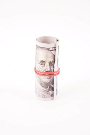 Roll of money Isolated Stock Photo
