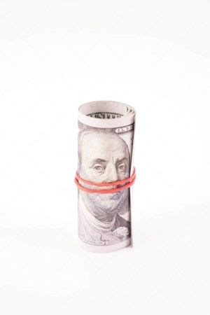 Rolled dollar banknotes