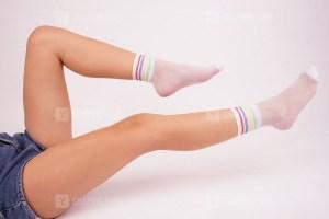 Trendy white socks stock image
