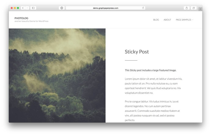 Photolog WordPress theme