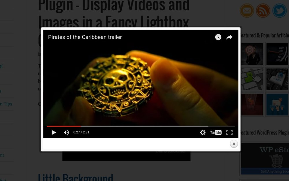 The WordPress Video Lightbox plugin