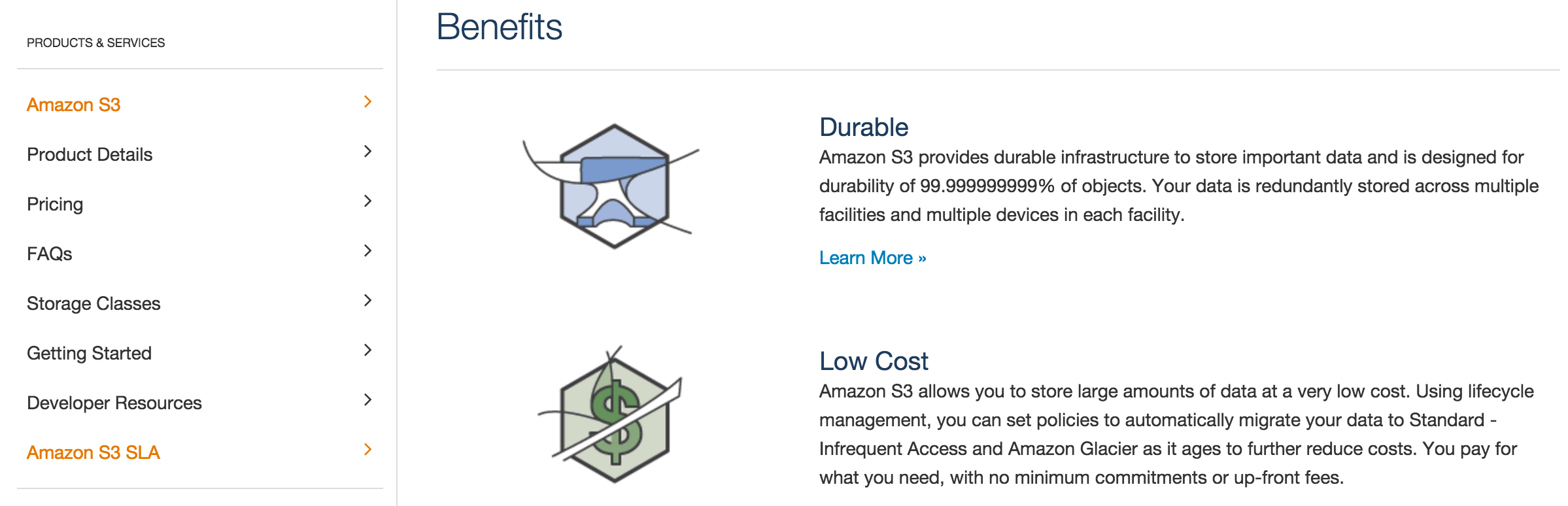The Amazon S3 homepage.