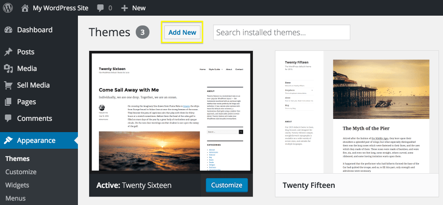 The Add New theme button.