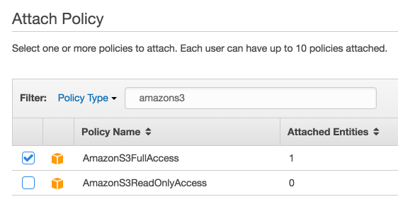 Selecting permission in the Attach Policy screen of Amazon S3.
