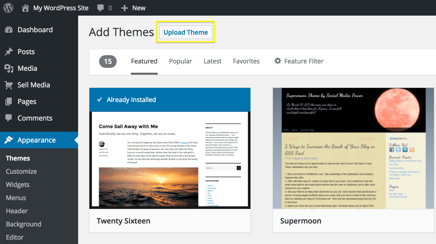 The Upload Theme button.