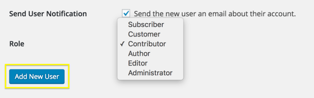 The User Role drop-down.