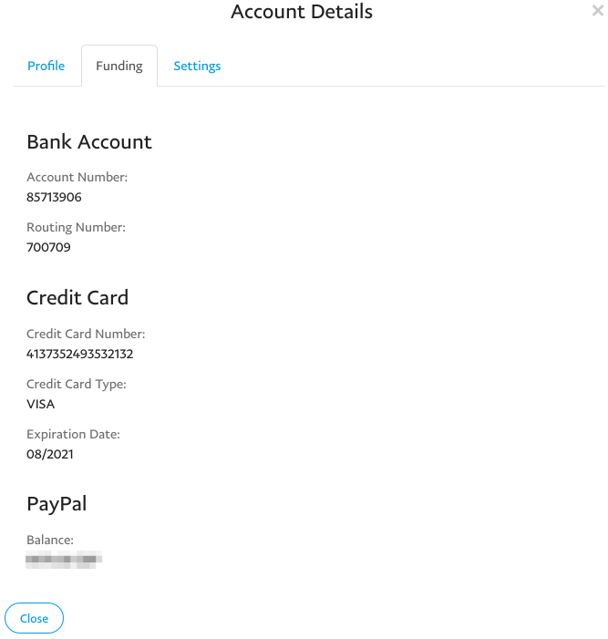 The Buyer profile's funding tab.