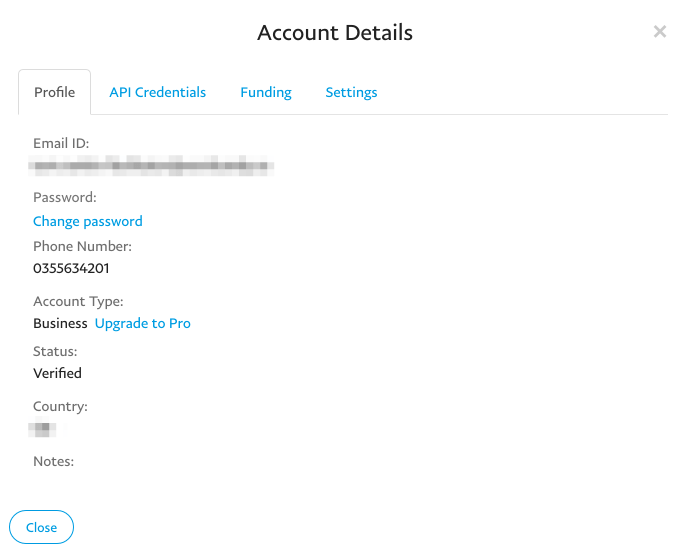 The Account Details modal popup.