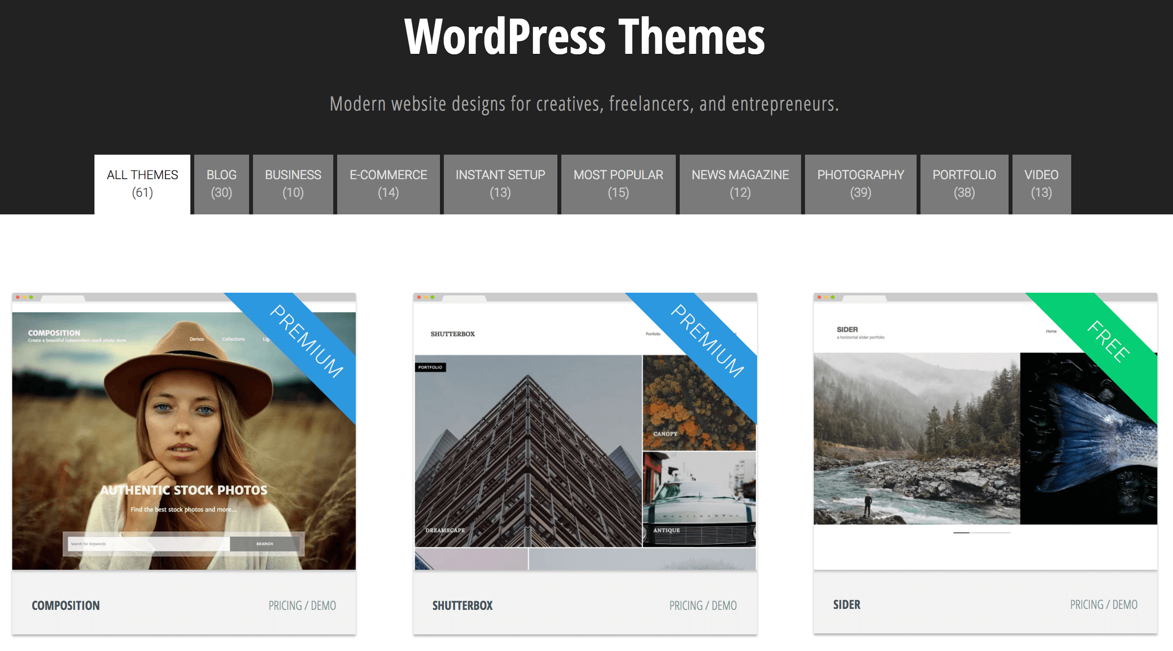 The Graph Paper Press themes page.