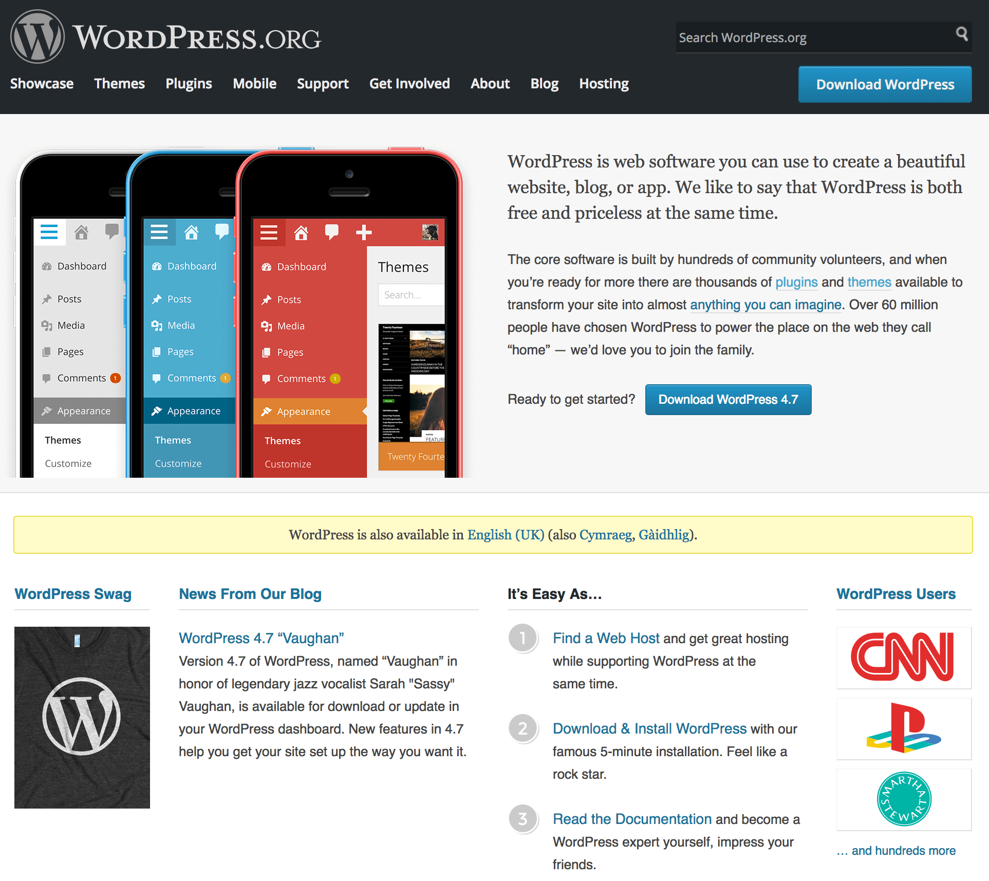The WordPress.org home page.