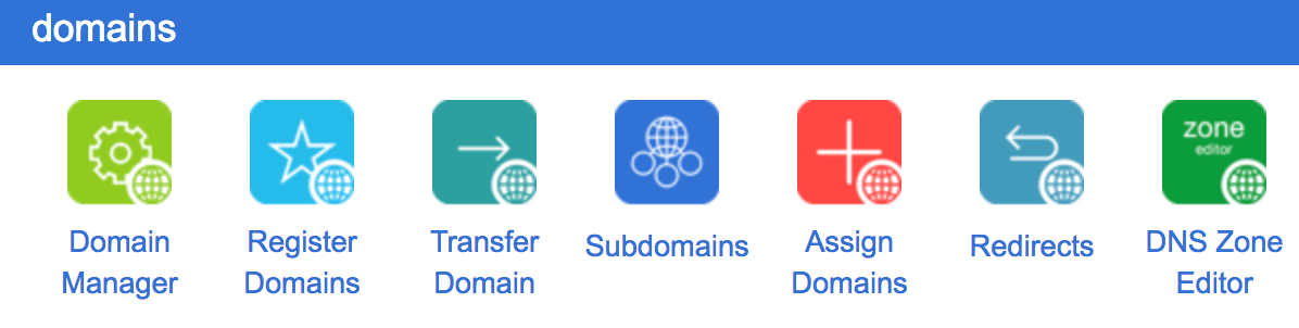 The Subdomains tab in cPanel.