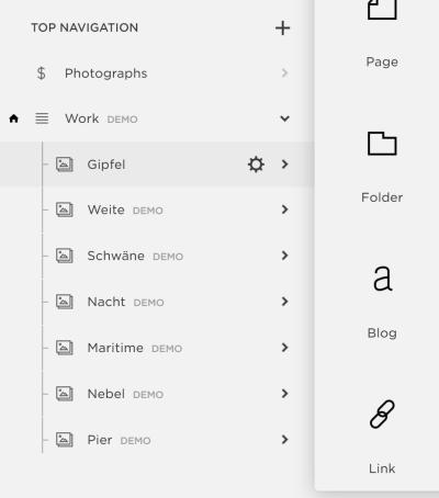 The Link option, under Top Navigation.