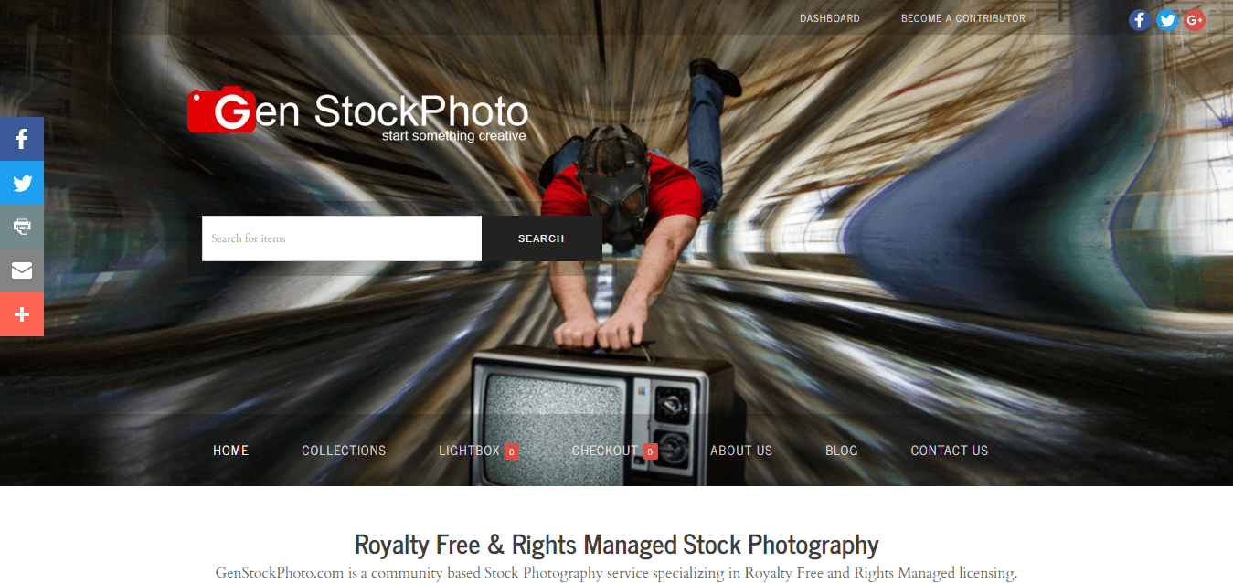 Gen StockPhoto Homepage