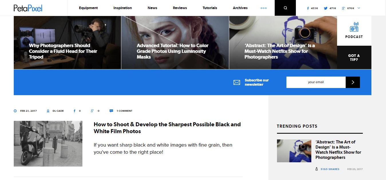 Peta Pixel Homepage